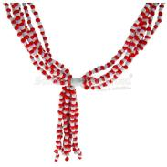 COLLARES MAZO | Collar Santeria Mazo Chango (Simple) (Blanco-Rojo)  (100 a 160 cm)